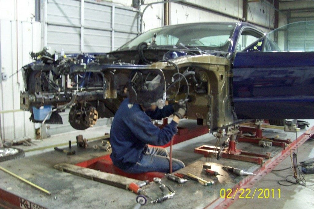 mustang being worked on